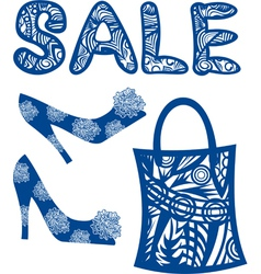 Sale shoes bag vector