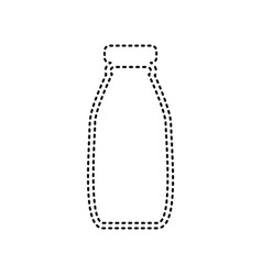 Milk bottle sign  black dashed icon on vector