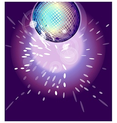Shiny disco ball on nightclub vector
