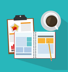 Notebook and coffee cup vector