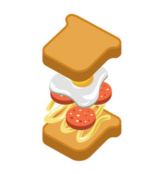 Sandwich burger fast food ingredients constructor vector