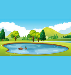 Scene with pond in the field vector