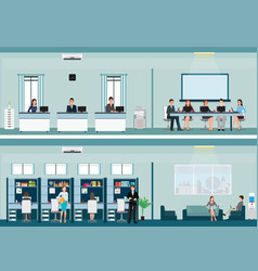 office worker with office desk and business vector image