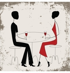Man ad woman in a restaurant vector