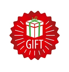 Logo gift in a red circle vector