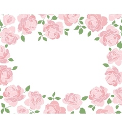 Horizontal frame made of hand drawn roses vector