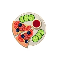 Pizza slices sauce and sliced cucumbers served vector