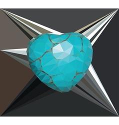 Geometric Turquoise Heart2 vector image