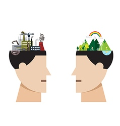 Factory pollution and green city concept vector
