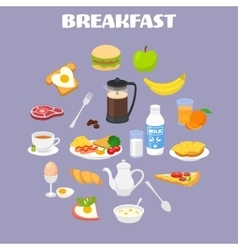 Breakfast with fresh food and drinks icons set vector