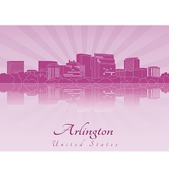 Arlington skyline in purple radiant orchid vector