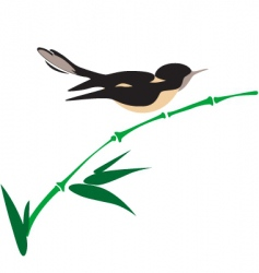 Bird on bamboo vector