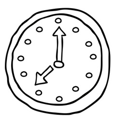black and white wall clock cartoon doodle vector image vector image