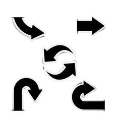 black arrow stickers with shadows vector image