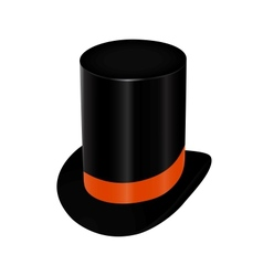 Black top hat with orange ribbon vector image vector image