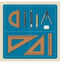 Blueprint with architectural equipment vector image