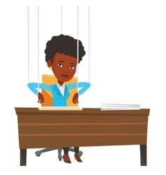 Businesswoman marionette on ropes working vector