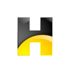 Creative yellow and black symbol letter h for your vector