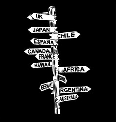 direction signs different countries isolated vector image