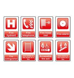 Fire equipment signs vector