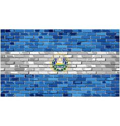 Flag of el salvador on a brick wall vector