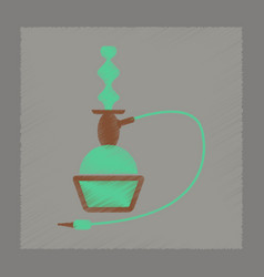 Flat shading style icon eastern hookah smoke vector