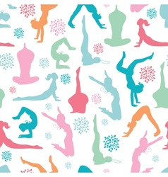 Fun workout fitness girls seamless pattern vector image