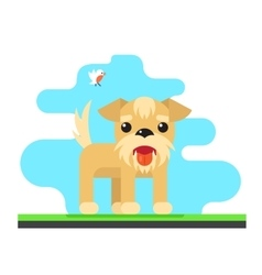 Funny dog bird sky background concept flat design vector