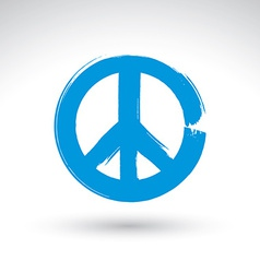 Hand drawn simple peace icon brush drawing blue vector image