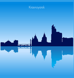 krasnoyarsk skyline silhouette russia vector image vector image