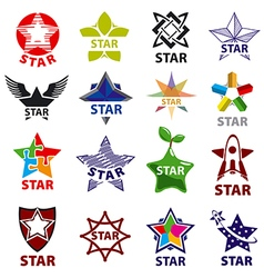 Large set of logos star vector