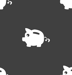 Piggy bank icon sign seamless pattern on a gray vector