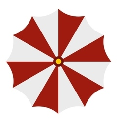 Red and white beach umbrella icon flat style vector image vector image