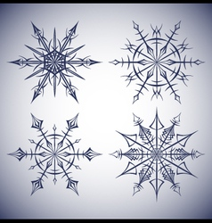 Set of ethnic snowflakes vector image