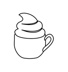 silhouette cup of cappuccino with cream vector image