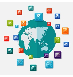 Social media icons on world globe vector image vector image