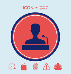 speaker orator speaking from tribune icon vector image