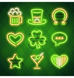 St patricks day glowing neon signs set vector