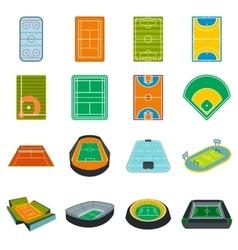 Stadium flat icons set vector image