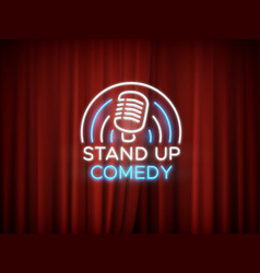 Stand up comedy neon sign with microphone and red vector