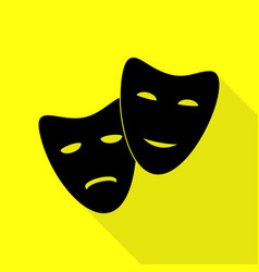 Theater icon with happy and sad masks black icon vector
