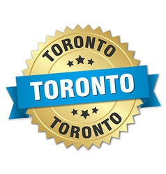 Toronto round golden badge with blue ribbon vector