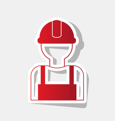 Worker sign new year reddish icon with vector