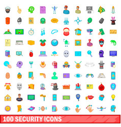 100 security icons set cartoon style vector image vector image