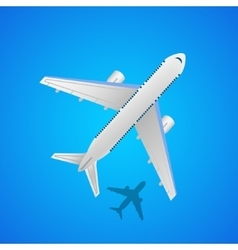 Airplane in the air with shadow vector