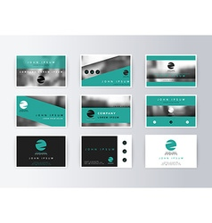 Set of business cards turquoise background vector