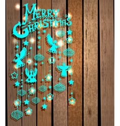 Christmas wood background vector image