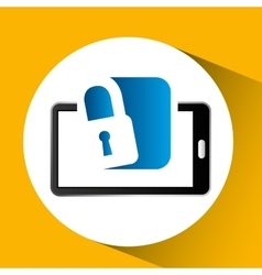 Mobile phone icon secure social media vector