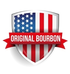 Original bourbon ribbon on usa flag shield vector