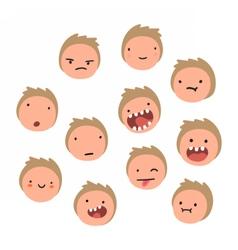 Boy emotions Cartoon faces vector image